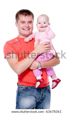 Happy young father with attractive smile holding his baby on hands -  on white background - stock photo