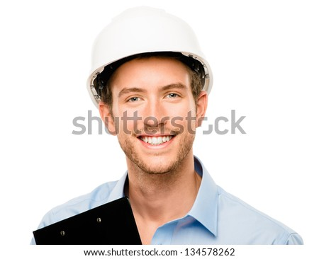Happy young foreman on building site with hard hat white background - stock photo