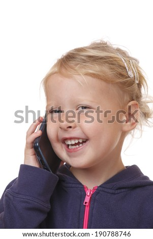 Happy young girl communicates with smartphone on white background