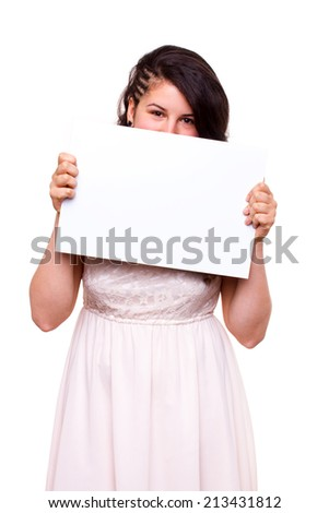 happy young girl holding blank billboard - stock photo
