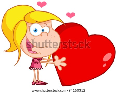 Happy Young Girl Holds A Red Heart.Raster illustration .Vector version is also available