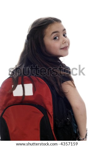 Happy young girl ready for school - stock photo