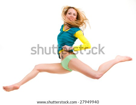 Happy young girl running by giant steps - stock photo