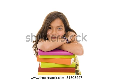 Happy young girl with colorful books - stock photo