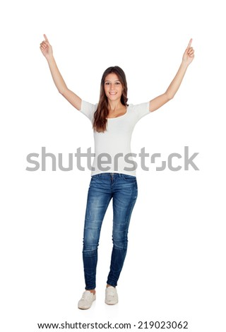 Happy young girl with her arms up isolated on a white background