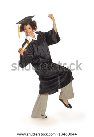 Happy young graduating woman - stock photo