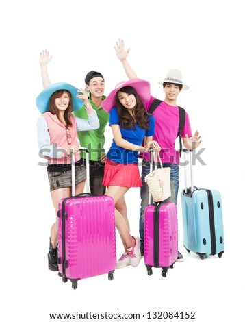 happy young group enjoy summer vacation and travel - stock photo