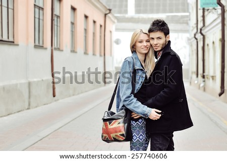 Happy young hipsters couple portrait  - stock photo