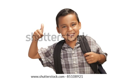 Happy Young Hispanic School Boy with Thumbs Up and Backpack Ready for School Isolated on a White Background. - stock photo