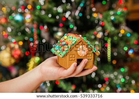 Happy young housewife showing christmas cookies christmas new year house with cookies in hand
