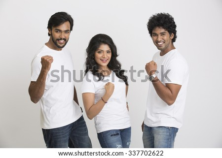 Happy young Indian friends. Mixed race group on a white background. - stock photo