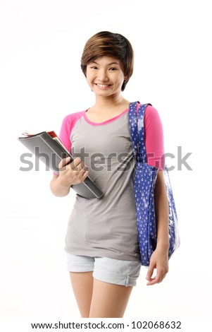 Happy Young International Student Girl. Asian. Isolated on White Background. - stock photo