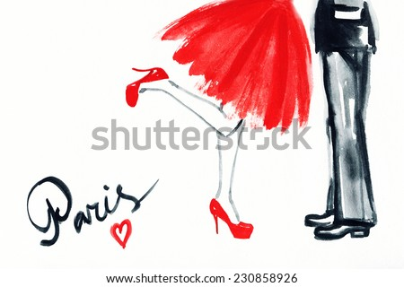 Happy young lovers . kiss  . Paris card - stock photo
