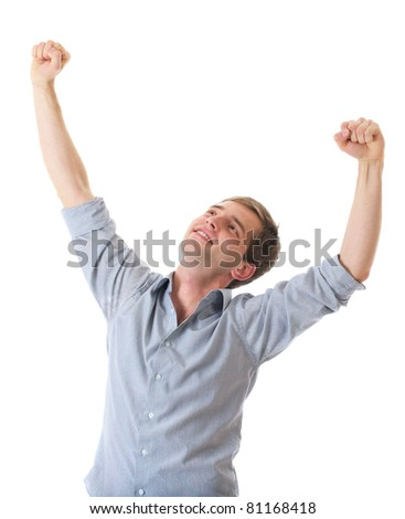 happy young male with his arms up in victory gesture, isolated