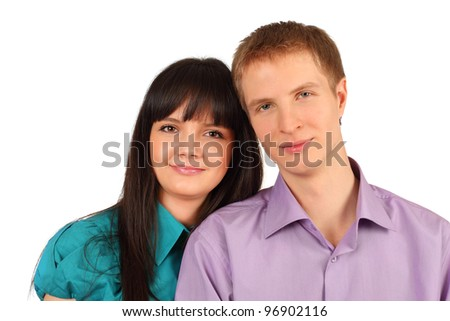 Happy young man and woman smile isolated on white background - stock photo