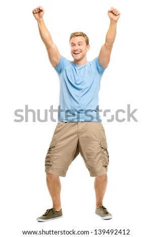 Happy young man celebrating success isolated on white - stock photo