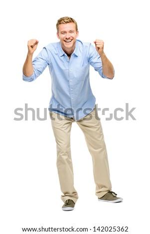 happy young man celebrating success on white background - stock photo
