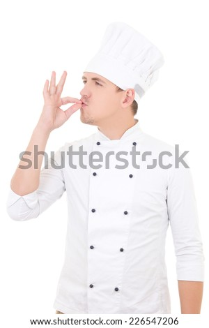 happy young man chef showing tasty ok sign isolated on white background