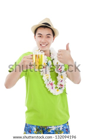 happy young man drinking beer at summer time - stock photo