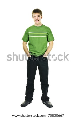 Happy young man full body standing isolated on white background - stock photo