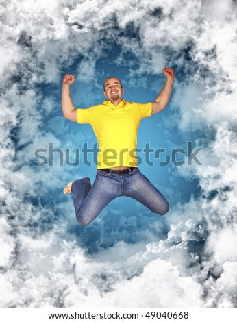 happy young  man in a circle of clouds background
