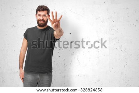 happy young man number four - stock photo