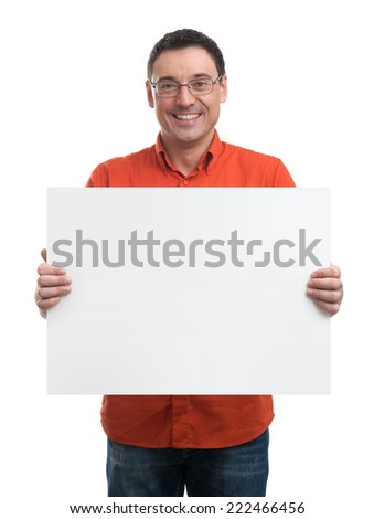 Happy young man showing and displaying placard ready for your text - stock photo