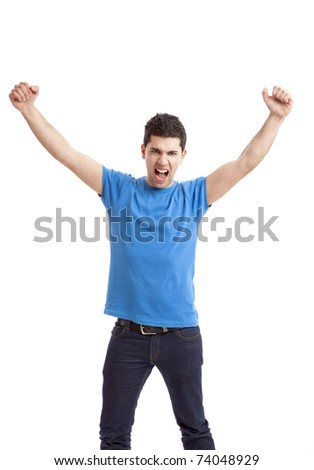 Happy young man with arms up isolated on a white background - stock photo