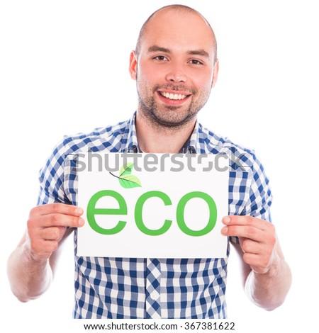 Happy young man with eco sign against the white - stock photo