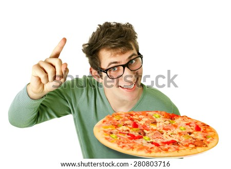 Happy young man with pizza                  - stock photo