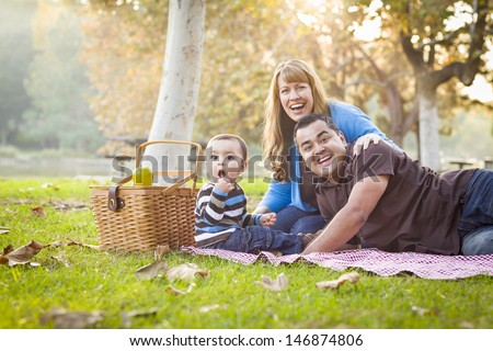 Happy Young Mixed Race Ethnic Family Having a Picnic and Playing In The Park. - stock photo