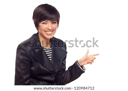 Happy Young Mixed Race Woman Pointing to the Side Isolated on White. - stock photo