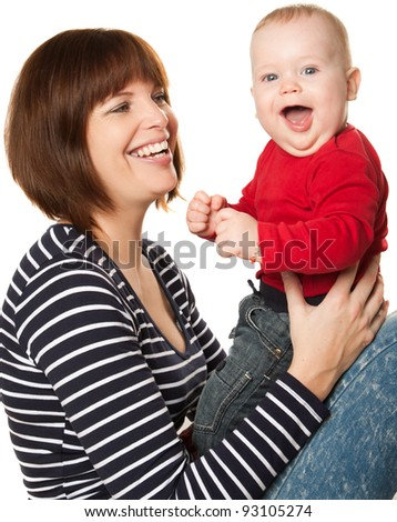Happy young mother and baby boy - stock photo