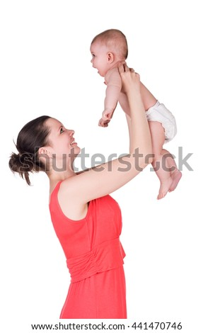 happy young mother holding her baby child, isolated on white. smiling mom playing with her son / daughter