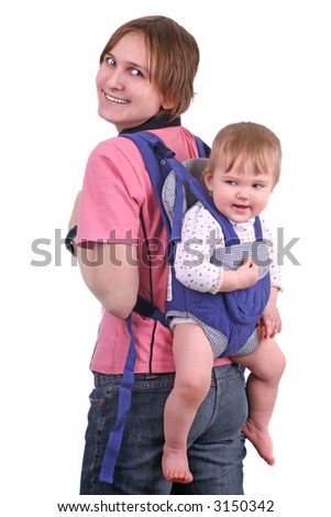 happy young mother or babysitter carrying a baby in a baby carrier on her back, isolated on white - stock photo
