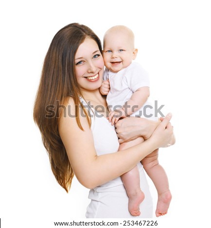 Happy young mother with her cute baby  - stock photo