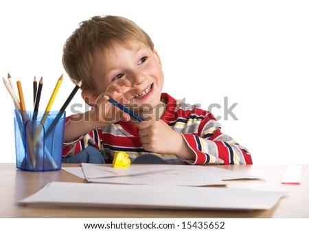Happy young painter - stock photo