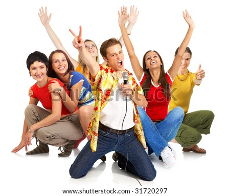 Happy young people signing karaoke. Isolated over white background - stock photo