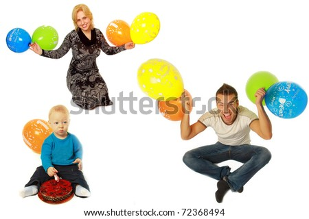 Happy young people with balloons isolated on white background