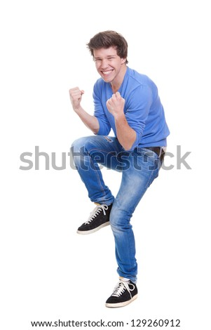 happy young person celebrating success - stock photo