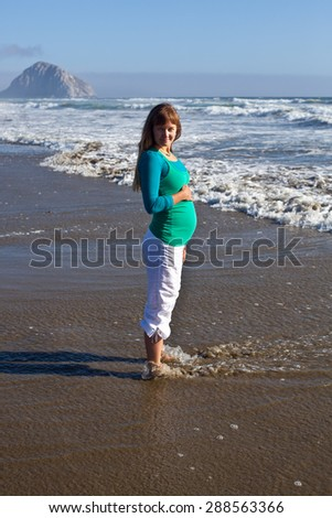 Happy young pregnant woman standing on the beach