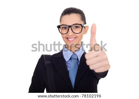 happy young professional gives the thumbs up sign - stock photo