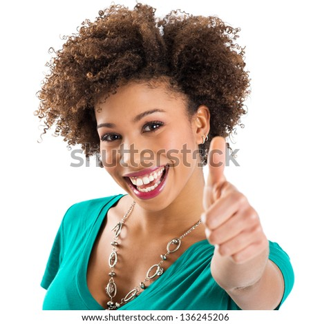 Happy Young Smiling African Woman isolated - stock photo