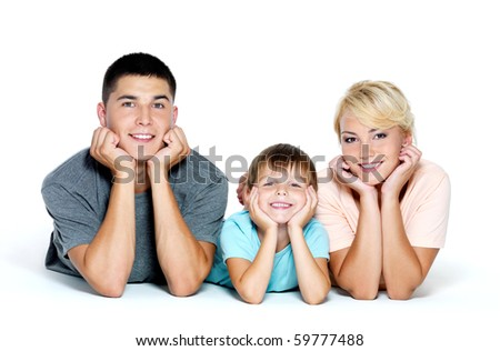 Happy young smiling family with little boy  - isolated - stock photo