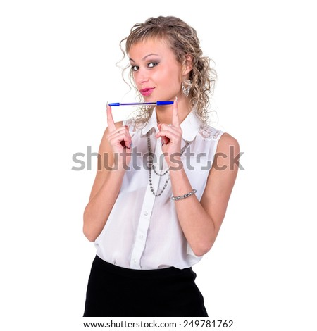 Happy young student girl with pen, isolated on white - stock photo