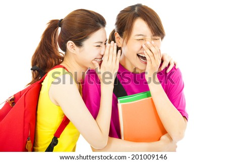 happy young student talking about  a funny event - stock photo