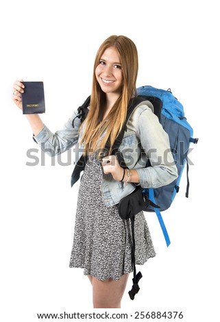 happy young student tourist woman carrying backpack showing passport in holidays trip and vacation backpacker tourism concept isolated on white background - stock photo