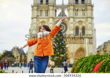 Happy Young Tourist Paris On Winter Stock Photo 464771705 ...