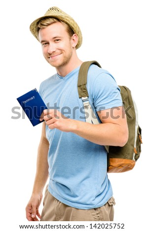 Happy young tourist man holding passport white background - stock photo