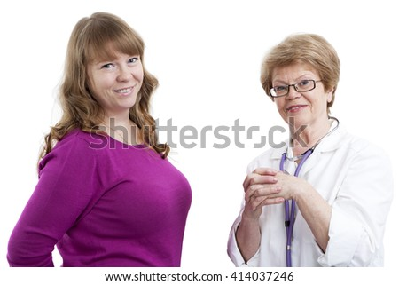 Happy young woman and elder doctor looking at camera and smiling, isolated on white background - stock photo